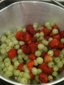Strawberries and Gooseberries in the Preserving Pan